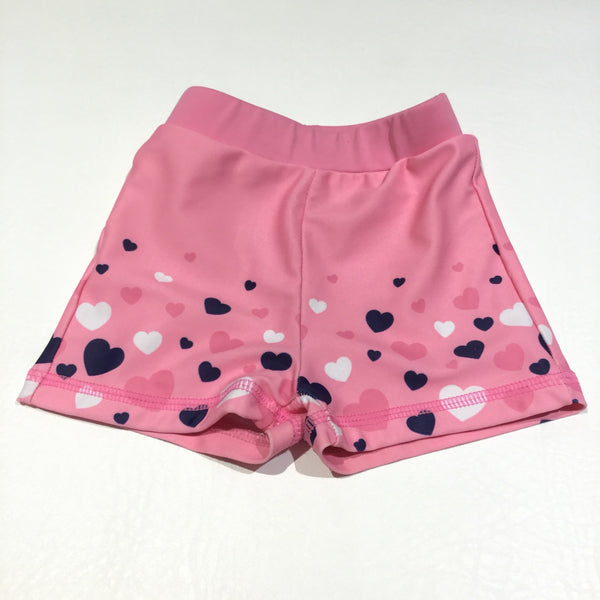Navy, White & Pink Hearts Swimming Shorts - Girls 3-6m
