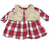 Red & White Checked Long Sleeve Cotton Dress & Furry Beige Gilet Set - Girls 3-6m