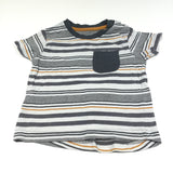 Grey White & Mustard Striped T-Shirt - Boys 12-18m