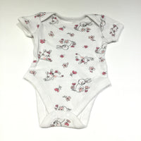 Rabbits Pink & White Short Sleeve Bodysuit - Girls 0-3m