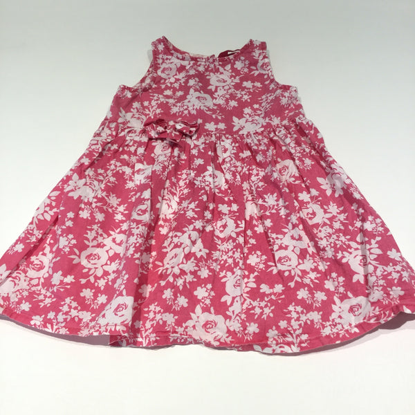 Flowers White & Pink Cotton Dress - Girls 2-3