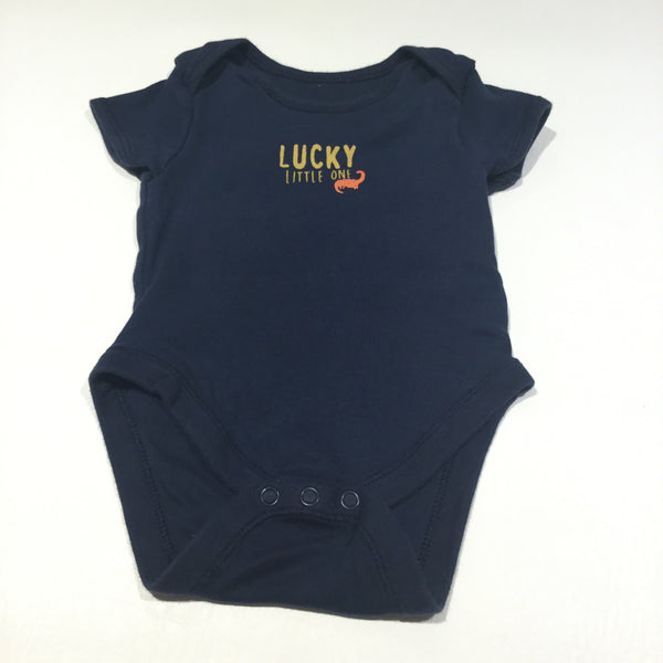 'Lucky Little One' Dinosaur Navy Short Sleeve Bodysuit - Boys 3-6m