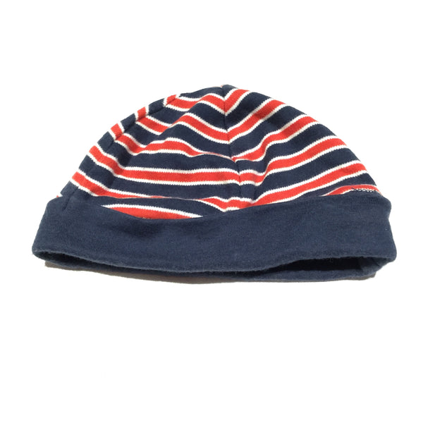Navy, White & Red Striped Thick Jersey Hat - Boys 9 Months