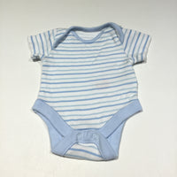 Blue & White Striped Short Sleeve Bodysuit - Boys Tiny Baby