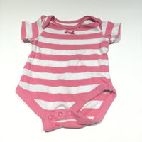 Pink & White Striped Short Sleeve Bodysuit - Girls 3-6m