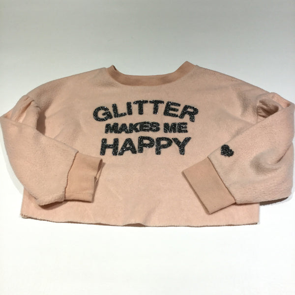 'Glitter Makes Me Happy' Peach Cropped Fleece Jumper - Girls 5-6