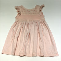Flower Embroidered Peach Jersey Dress - Girls 5-6