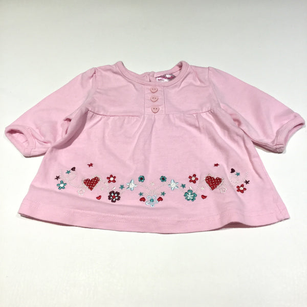 Flowers & Stars Embroidered Pink Long Sleeve Tunic Top - Girls Newborn