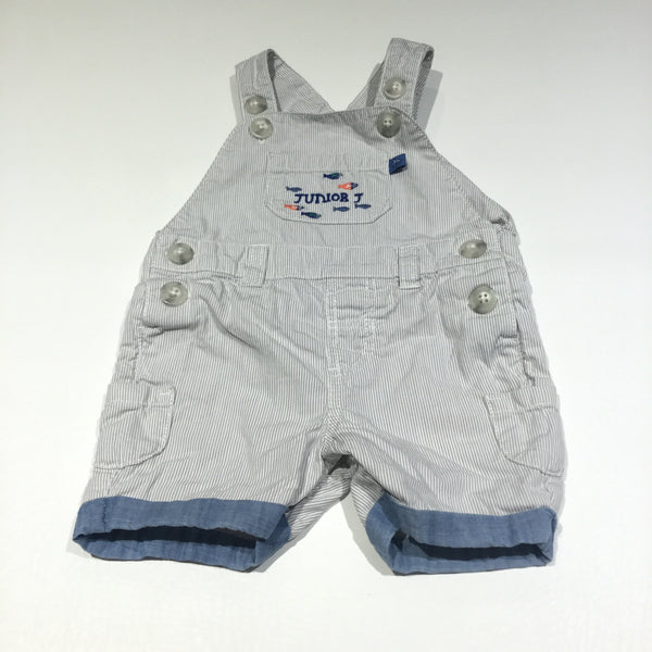 Fish Embroidered Grey & White Striped Cotton Short Dungarees - Boys 0-3m