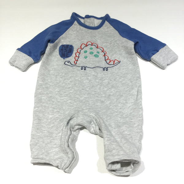 'Roarsome' Embroidered Dinosaur Grey & Blue Thick Jersey Romper with Integrated Mitts - Boys 0-3m