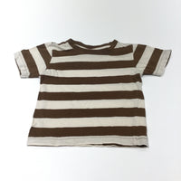 Brown & Cream Striped T-Shirt - Boys 3-6m