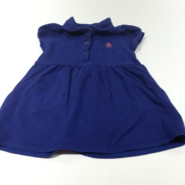 Blue Jersey Dress with Collar & Attached Bodysuit - Girls 3-6m