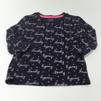 'Lovely' Hearts Navy Long Sleeve Top - Girls 6-9m