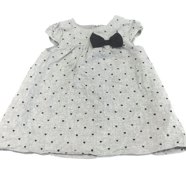 Black Hearts Grey Cotton Dress - Girls 9-12m