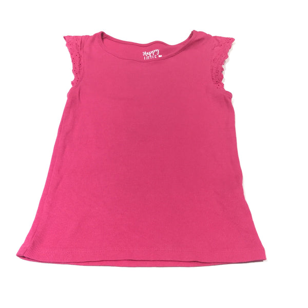 Pink Ribbed T-Shirt with Broderie Sleeves - Girls 5-6