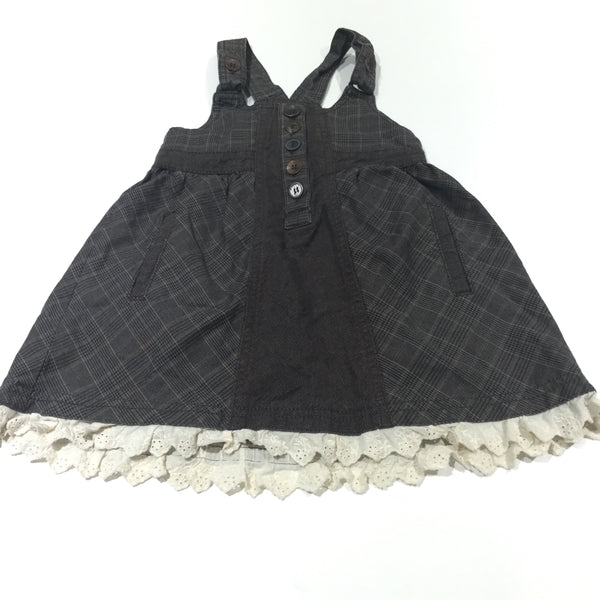 Brown Checked Cotton Dungaree Dress with Broderie Hem - Girls 18-24m
