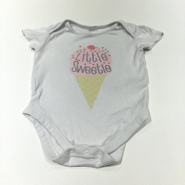 'Little Sweetie' Ice Cream White Short Sleeve Bodysuit - Girls 9-12m