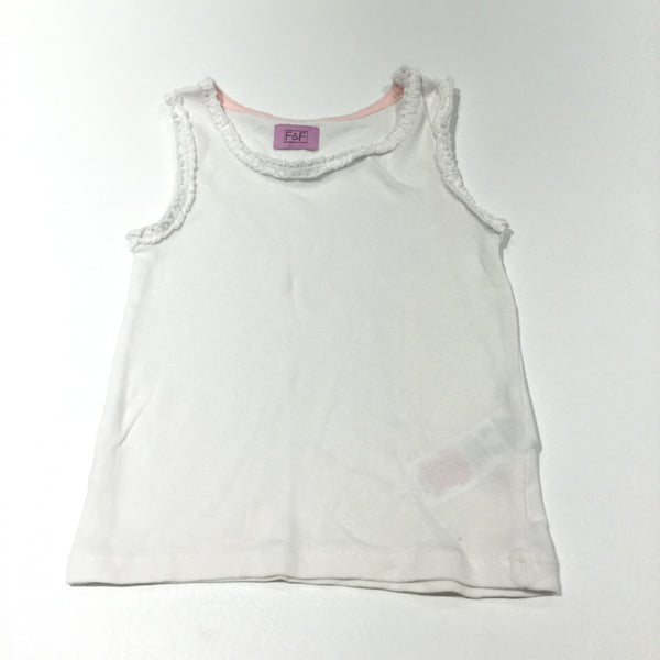 White Vest Top with Frill Detail - Girls 18-24m