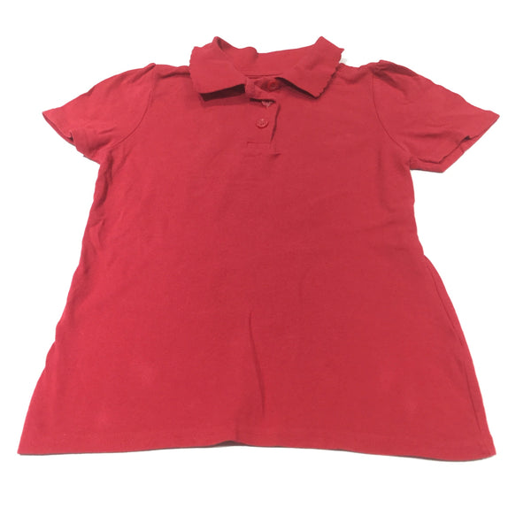 Red School Polo Shirt with Frilly Collar - Girls 6-7