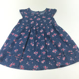 Pink Roses Denim Effect Cotton Dress - Girls 9-12m