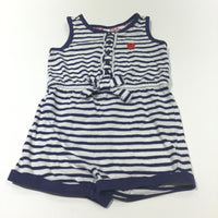 Heart Motif Navy & White Striped Jersey Playsuit - Girls 9-12m