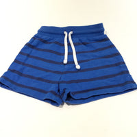Blue & Navy Striped Jersey Shorts - Boys 12-18m