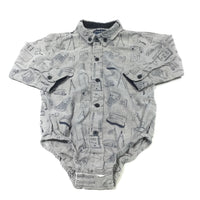 Stationery Designs Grey & Navy Cotton Shirt Style Long Sleeve Bodysuit - Boys 18-24m