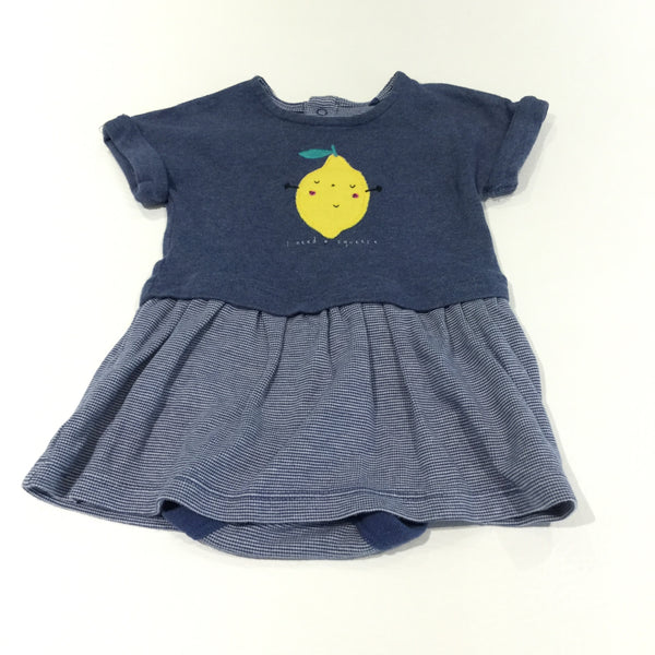 'I Need A Squeeze' Lemon Blue & White Striped Jersey Dress with Attached Bodysuit - Girls 0-3m