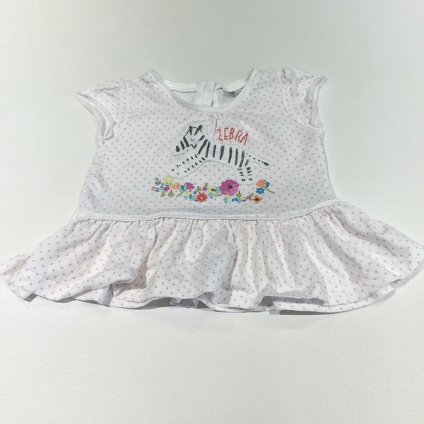 'Zebra' Pink Spots White Short Sleeve Tunic Top - Girls 0-3m