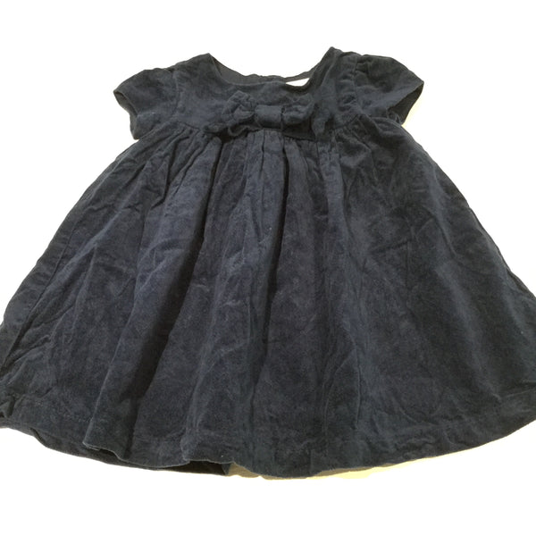 Blue Velvet Party Dress with Bow - Girls 6-9m