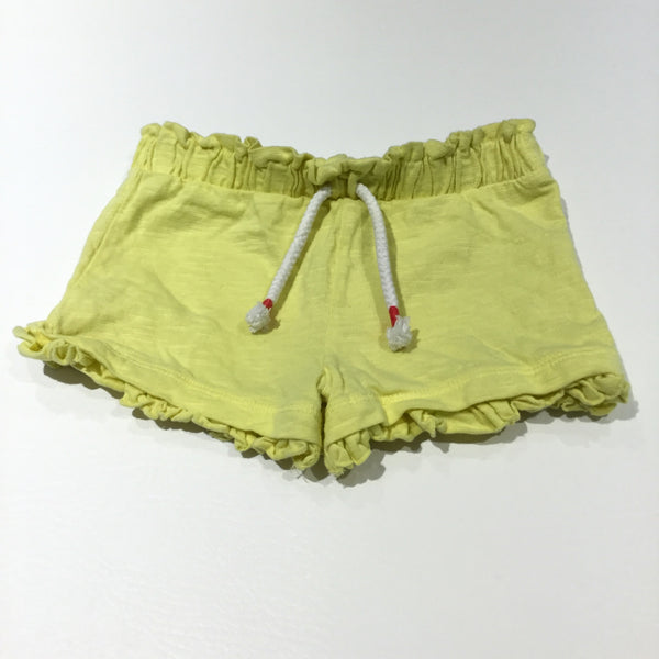 Yellow Frilly Jersey Shorts - Girls 6-9m