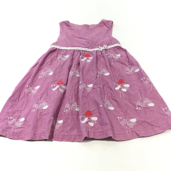 Birds Embroidered Lilac Lightweight Corduroy Pinafore Dress - Girls 18-24m
