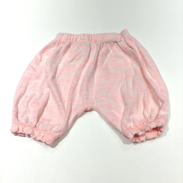 Pink & White Mottled Jersey Trousers - Girls 9-12m