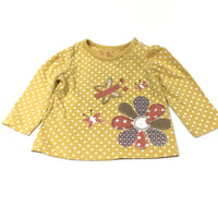 Flower & Butterflies Appliqued Mustard Yellow & White Spots Long Sleeve Top - Girls Newborn - Up To 1 Month