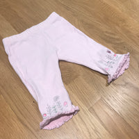 Flower Print Pink & White Striped Leggings with Frilly Hems - Girls 0-3m