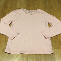 Pale Pink with Sparkly Spots Long Sleeve Top - Girls 4-5