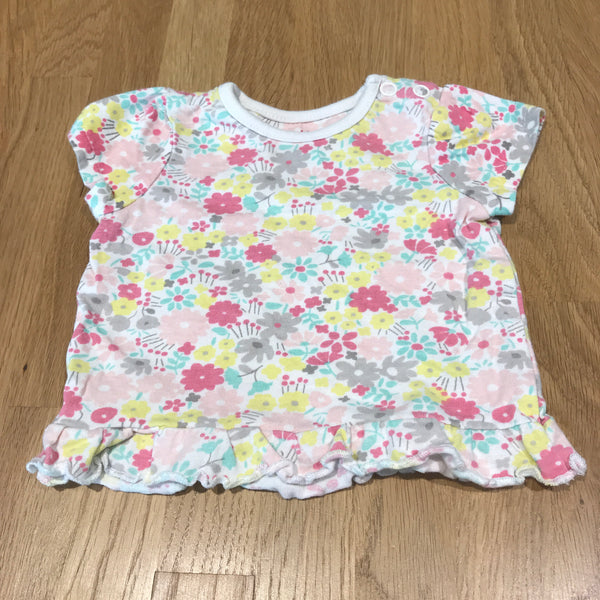 Flowers White T-Shirt with Frilly Hem - Newborn