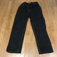 Black Denim Skinny Jeans with Adjustable Waistband - Girls 5 Years