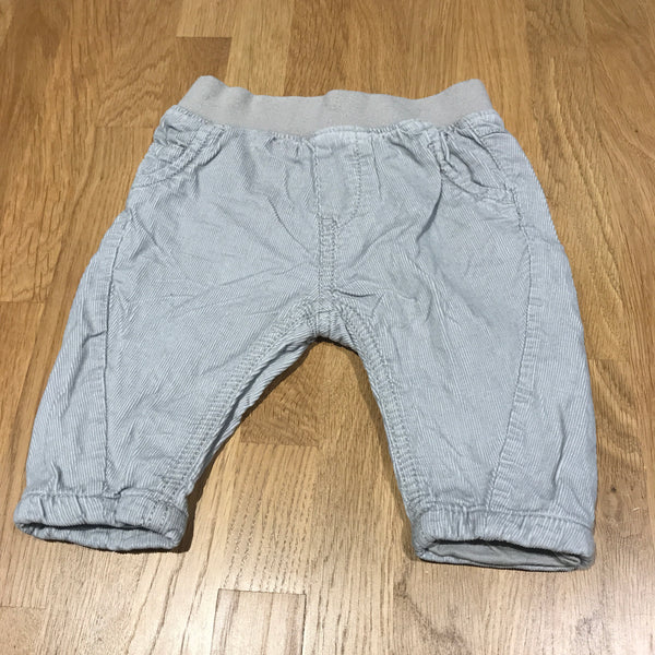 Light Grey Lined Corduroy Trousers - Boys 0-3m