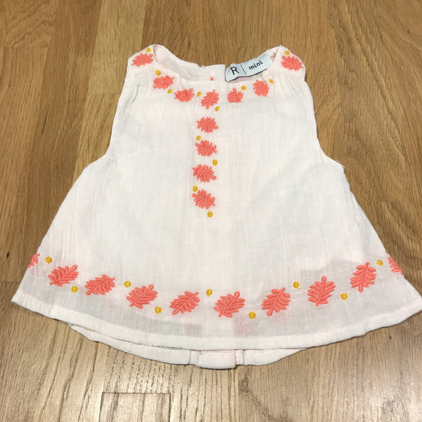 Embroidered Leaves Pale Pink Cotton Sleeveless Blouse - Newborn
