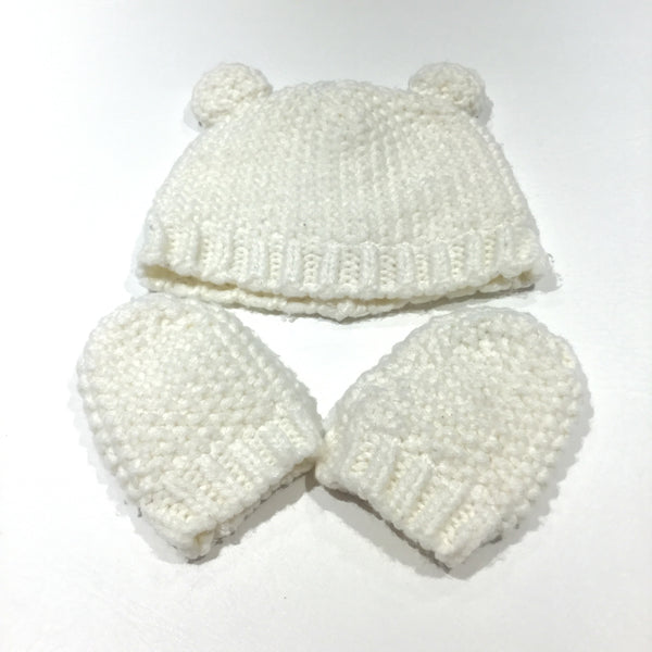 Cream Lined Knitted Mittens & Hat with Ears Set - Boys/Girls 6-12 Months