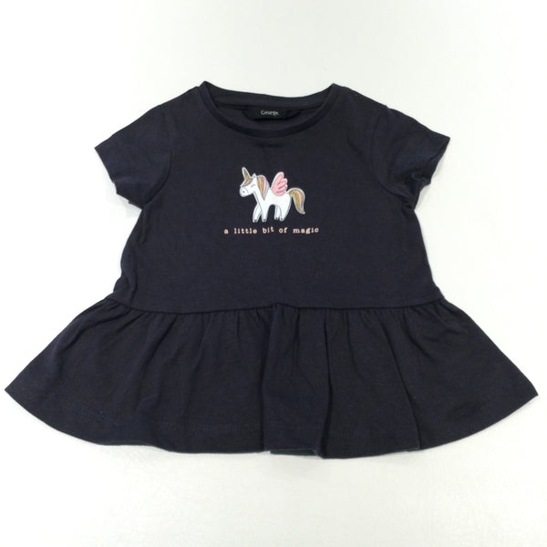 'A Little Bit Of Magic' Glittery Unicorn Black Short Sleeve Tunic Top - Girls 12-18 Months