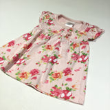 Flowers Pink Short Sleeve Jersey Dress - Girls 0-3m