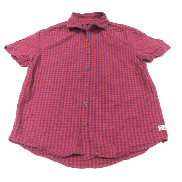 Orange & Purple Checked Short Sleeve Shirt - Boys 12 Years