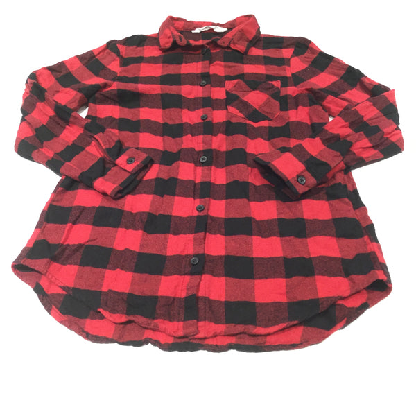Black & Red Checked Long Sleeve Brushed Cotton Shirt - Boys 9-10 Years