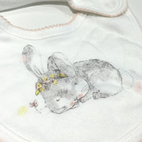 Rabbit White & Pink Bib - Girls Newborn
