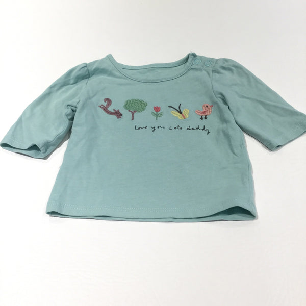'Love You Lots Daddy' Squirrel, Bird & Flower Embroidered Light Green Long Sleeve Top - Girls Newborn