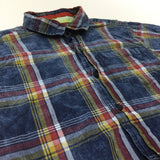 Navy, Red, Yellow & White Checked Cotton Short Sleeve Shirt - Boys 8-10 Years