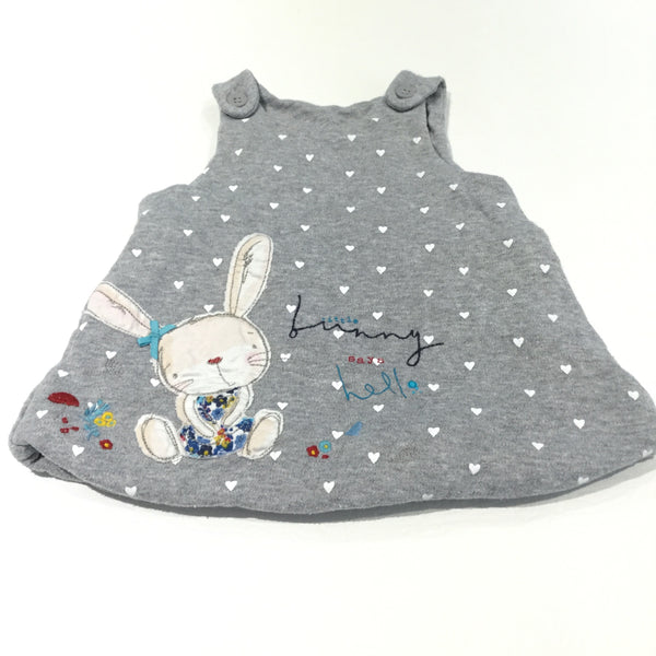 'Little Bunny Says Hello' Rabbit Appliqued Grey Thick Padded Jersey Dungaree Dress - Girls Newborn - Up To 1 Month