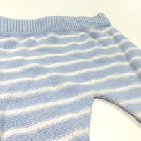 Blue & White Striped Knitted Trousers with Enclosed Feet - Boys 0-3 Months